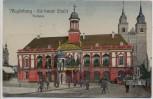 AK Magdeburg die bunte Stadt Rathaus mit Menschen 1922
