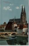 AK Regensburg Steinerne Brücke mit Dom 1913