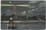 AK Kiel Holtenau Leuchtturm und Denkmal Kaiser Wilhelms des Grossen bei Nacht 1910