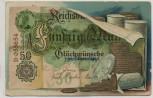 Künstler-AK Geldschein Reichsbank Fünfzig Mark Glückwünsche zum Namenstage 1910