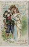 Präge-AK Mann mit Trompete und Frau Gedicht Jugendstil 1900