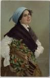 AK Frau mit Kopftuch Holz tragend 1910
