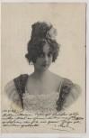 AK Frau mit Kleid und Rose im Haar 1902