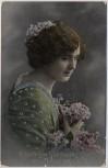 AK Foto Herzlichen Glückwunsch zum Geburtstage Frau mit Blumen silbern 1918