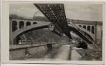 AK Foto Wuppertal Elberfeld Sonnborner Brücke mit Zug und Straßenbahn 1935