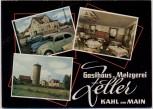 VERKAUFT !!!   AK Mehrbild Kahl am Main Gasthaus und Metzgerei Zeller 1960 RAR