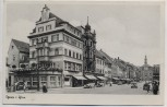 AK Foto Gera in Thüringen Straßenansicht mit Kirche und Konditorei Meyer viele Menschen Autos Feldpost 1939