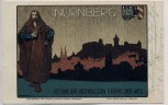 Künstler-AK Nürnberg H. Bek Gran Ortsansicht mit Dürer und Wappen Feldpost 1914