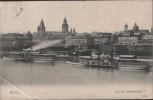 AK Mainz von der Strassenbrücke mit Dampfer 1906