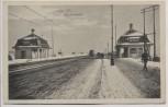 AK Leipzig Zeppelinbrücke im Winter mit Straßenbahn 1915