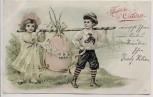 Präge Künstler-AK Fröhliche Ostern 2 Kinder tragen Ei Jugendstil 1906