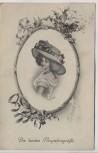 Künstler-AK Die besten Neujahrsgrüße Frau mit Hut im Spiegel Jugendstil H. Christ Vienne Nr. 179 1910