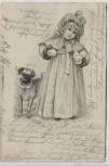 Künstler-AK Kind mit Schneebällen und Hund Mops Verlag Wartenberg Frankfurt Jugendstil 1902