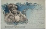 Künstler-AK Frau mit Hut Verlag E.B.&C.i.B. Jugendstil 1900