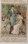 Künstler-AK Frau mit Schirm Mann im Anzug Jugendstil 1901