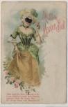 Künstler-AK Gruss vom Masken-Ball Frau mit Hut Jugendstil 1900