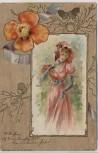 Präge Künstler-AK Frau mit Hut und Fecher Blume Goldrand Jugendstil 1901