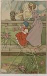 Künstler-AK Frau mit Kind im Kleid Jugendstil 1907