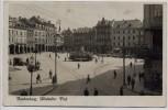 AK Foto Reichenberg Liberec Altstädter Platz Straßenbahn viele Menschen Böhmen Tschechien 1935